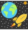 Flat retro cartoon rocket spaceship to the moon vector