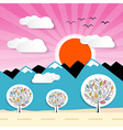 Nature paper mountains with clouds sun pink sky vector