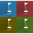 Color set golf flag flat modern web button with vector