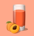 Full glass of peach juice vector