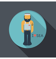 Flat icon sailor with a beard vector