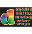 Colorful rainbow alphabet with gold frame vector