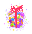Floral gift box vector