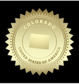 Gold star label colorado vector