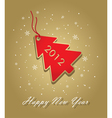 New year 2012 card with red christmas tree label o vector