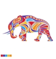Silhouette of elephant with ornament in vector