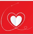 White paper heart with arrow path valentines day vector