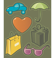 Green icons for shopping vector