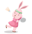 Girl rabbit playing badminton vector