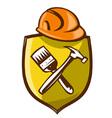 Construction shield symbol vector