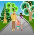 Happy family walking in park vector