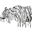 Tiger abstract painting on a white background vector