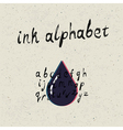 Ink hand drawn alphabet vector