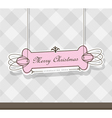 Pink christmas label on gray background vector