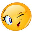 Female emoticon winking vector