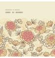 Vintage brown pink flowers horizontal frame vector