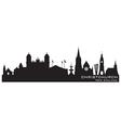 Christchurch new zealand skyline detailed silhouet vector