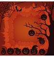 Halloween landscape pumpkins tree and spider vector