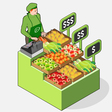 Isometric greengrocer shop - woman owner - front vector