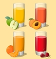 Set of juices in glass vector