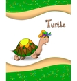 Alphabet letter t and turtle vector
