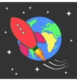 Space rocket flying around earth vector