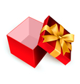 Open red gift box with golden ribbon vector