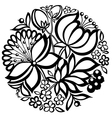 Black-and-white floral arrangement of a circle vector
