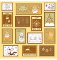 Postal stamps with christmas vector
