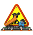 Road construction concept with truck vector