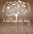Tree shaped made of back to school icons vector