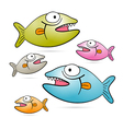 Colorful fish with teeth set isolated on white vector