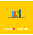 Book shelf with four books back to school flat vector