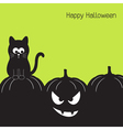 Black cat and halloween pumpkin vector