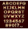 Bold golden neon alphabet letters on dark vector