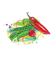 Vegetables with colorful splashes vector
