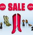 Five different shoes in sale vector