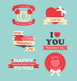 Valentine day labels icons elements and badges vector