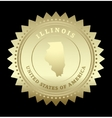 Gold star label illinois vector