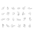 Outlined hand gestures vector