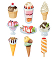Set of colorful tasty isolated ice cream vector
