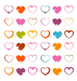 Grunge heart symbols set isolated on white vector
