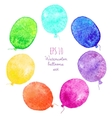 Set of multicolored balloons painted in watercolor vector