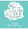Cute abstract flowers valentines day badge vector
