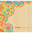 Bright rounds at ethnic background vector