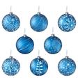 Christmas set blue balls vector
