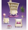 Set cartoon white bedroom furniture and cabinet vector