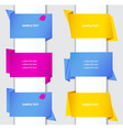 Set of colorful origami paper banners and labels w vector