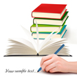 Book stack and writing vector