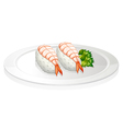 Sushi in a round plate vector